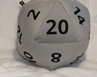 D20 Pillow - Silver Plush with Black Numbers and hidden pocket