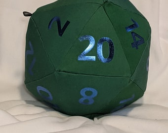 D20 Pillow - Second - Kelly Green Canvas with Blue Metallic Numbers and hidden pocket