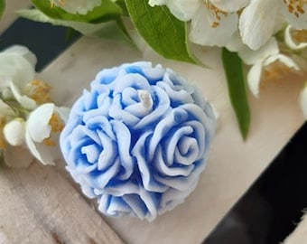Crystalline natural palm wax candle / Scented candle / Scent jasmine/  Blue candle/ Rose ball candle