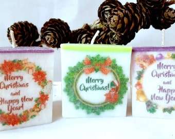 3 candle set, Scented candles with print natural palm wax candles Christmas gift