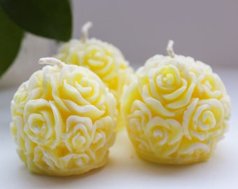 Mini rose candles Set of 6 Wedding favor gift candles Scented candle Natural candle Romantic decor candle Rose ball candle Scented linden