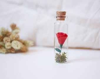 Miniature paper rose, pink, miniature flower, paper flower, woman gift, red rose, small gift, nature lover, Mother's Day