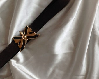 Brown Suede leather belt with butterfly fastner.
