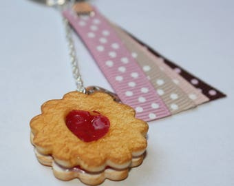 Heart cookie filled with jam polymer clay