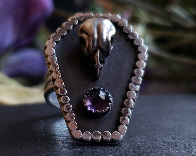 Amethyst Sparrow Skull Coffin Ring Size 6.5 | Sterling Silver