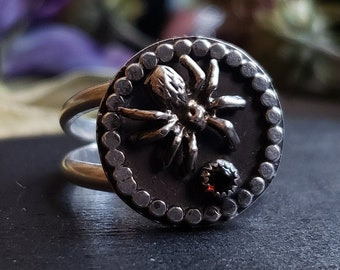 Garnet Spider Ring Size 10.5 | Sterling Silver
