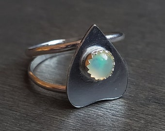 Ethiopian Opal Planchette Ring | Size 7.25 | Sterling Silver