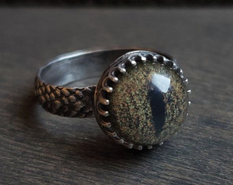 Snake Glass Eye Ring | Size 5.5 | Sterling Silver