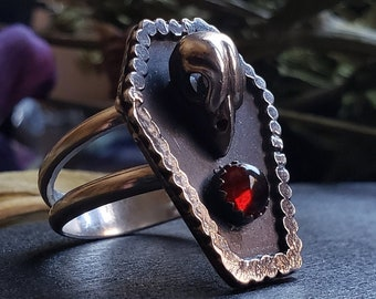 Garnet Sparrow Skull Coffin Ring Size 10 | Sterling Silver