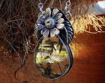 Epidote in Quartz   Cast Chamomile   Sterling Silver Necklace