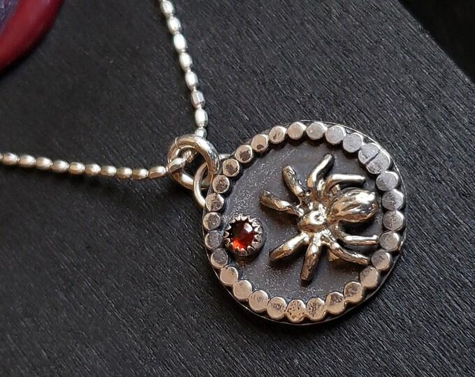 Garnet Spider Pendant, Beaded Border | Sterling Silver
