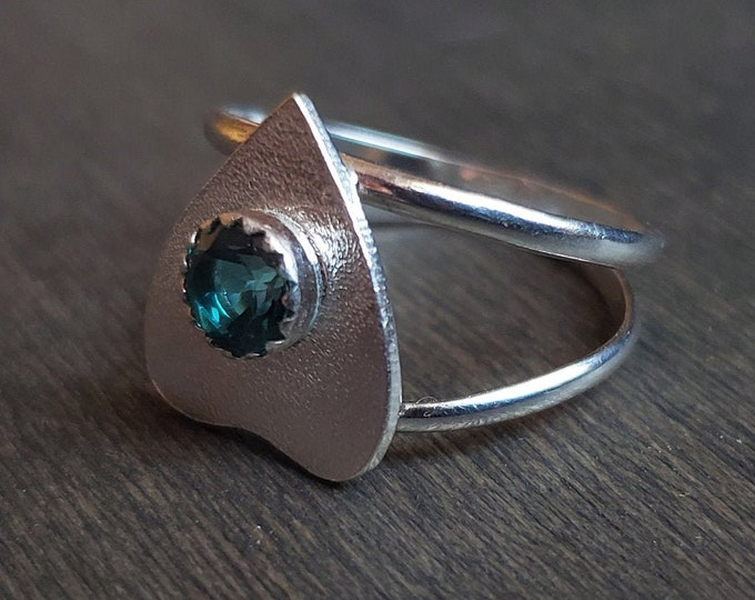 Green Topaz Planchette Ring | Size 7.75 | Sterling Silver