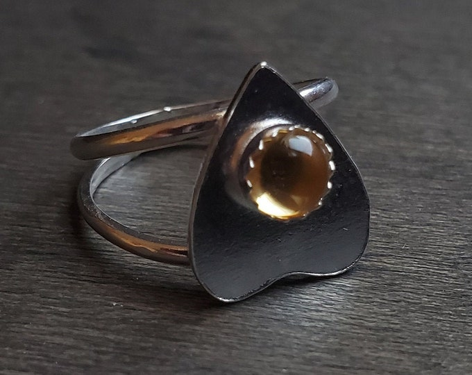 Citrine Planchette Ring | Size 5 | Sterling Silver