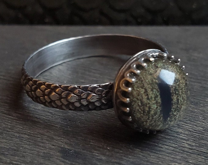 Snake Glass Eye Ring | Size 11.25 | Sterling Silver