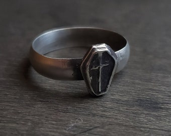 Coffin & Cross Sterling Silver Ring | Size 7