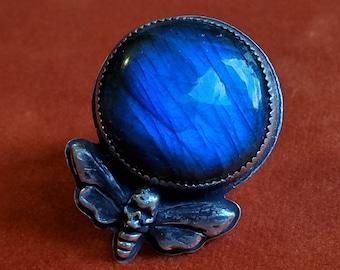Blue Labradorite Death Head Moth Ring | Size 6.25 | Sterling Silver