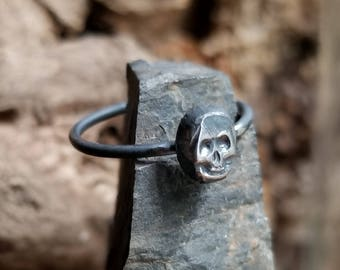 MADE TO ORDER - Skull Sterling Silver Stacking Ring