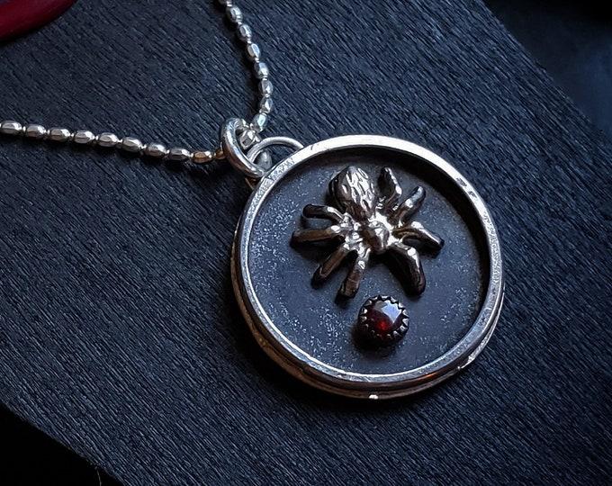 Garnet Spider Pendant | Sterling Silver