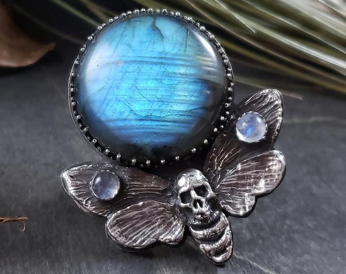 Labradorite & Rainbow Moonstone | Death Head Moth Ring | Size 7