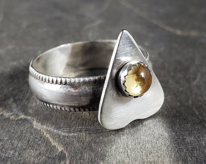 Citrine Planchette | Sterling Silver Ring Size 8.75