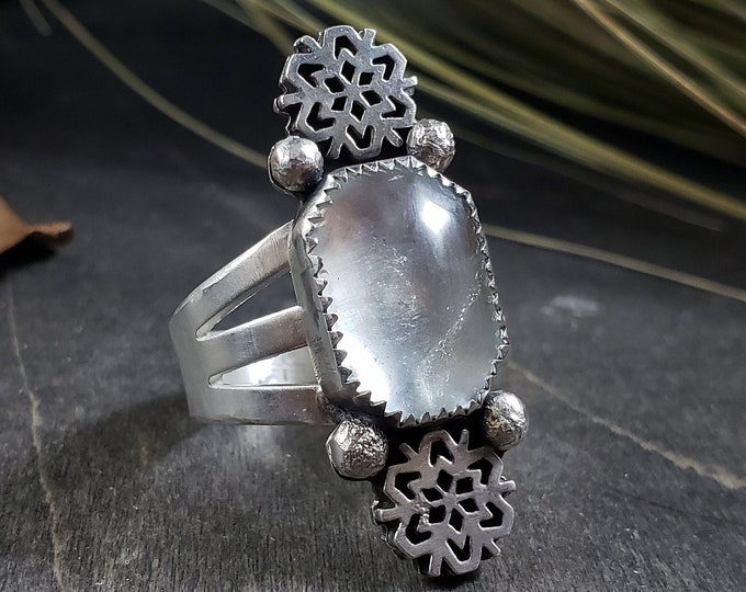 Icy Soft Blue Topaz & Snowflake | Wide Band Sterling Silver Ring Size 8.75