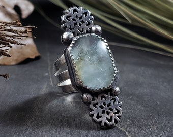 Aquamarine & Snowflake | Wide Band Sterling Silver Ring Size 6