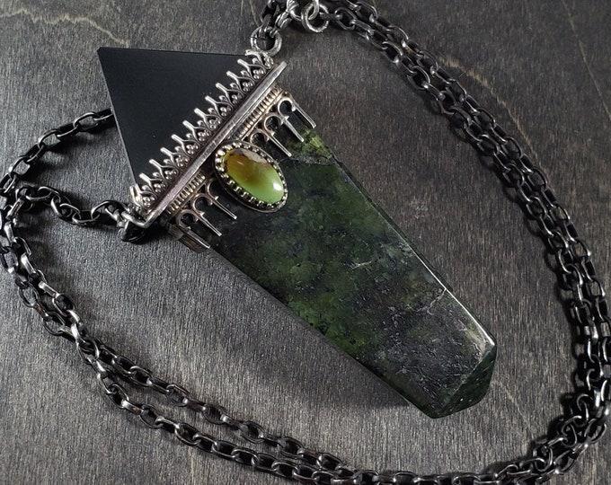 Onyx Pyramid, Royston Turquoise, Pakistani Jade | Power Pendant