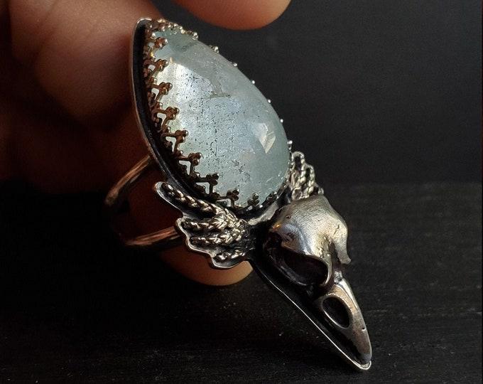 Blue Topaz & Raven Skull Ring | Size 9.5 | Sterling Silver