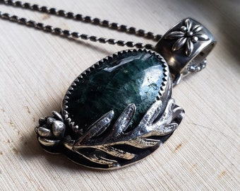 Deep Green Apatite Necklace | Cast Succulent and Fern | Sterling Silver