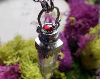 Red Garnet & Rutilated Smokey Quartz Cauldron Necklace | Sterling Silver