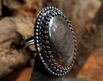 Mohogany Obsidian Sterling Silver Ring Size 5