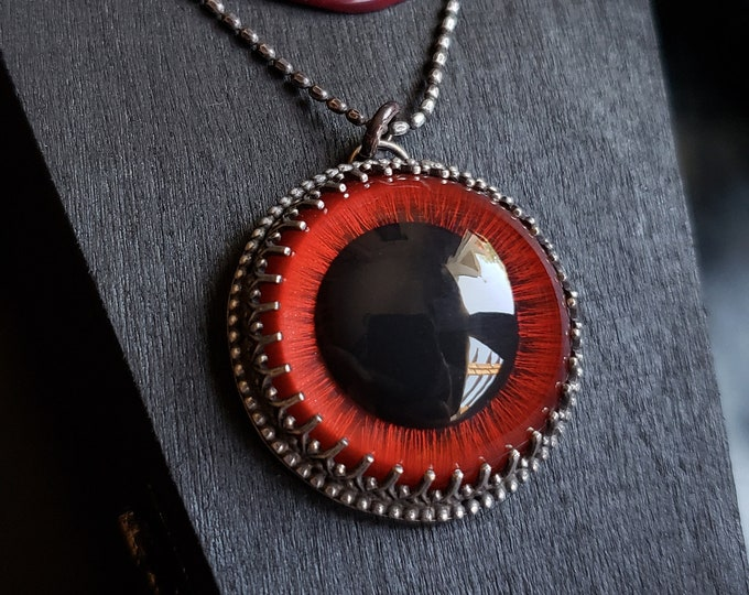 Red Carousel Horse Glass Eye | Sterling Silver Pendant