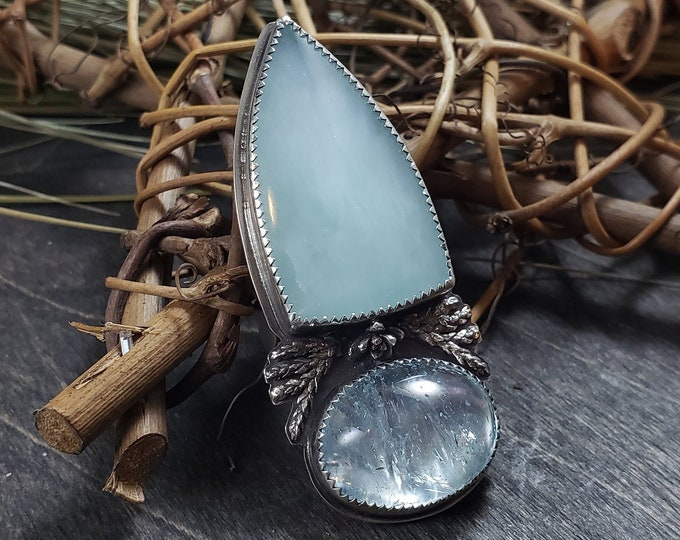 Icy Blue Topaz and Victoria Stone Ring | Casted Succulent & Ferns | Sterling Silver Ring Size 6