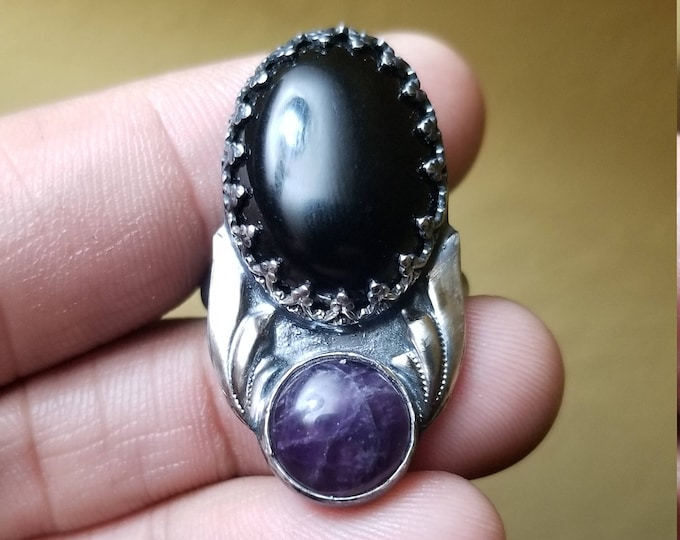 Amethyst and Onyx Oxidized Sterling Silver Ring Size 8