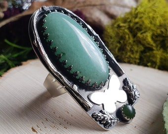Adventurine & Jade Butterfly Ring | Size 9.5 | Sterling Silver