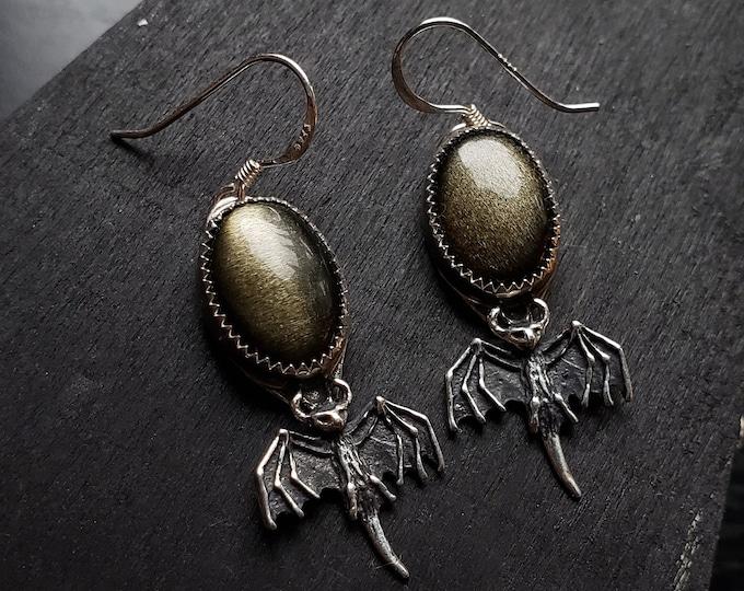 Golden Sheen Obsidian Bat Earrings | Sterling Silver