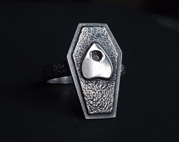 Coffin & Planchette Sterling Silver Ring   Size 6.25