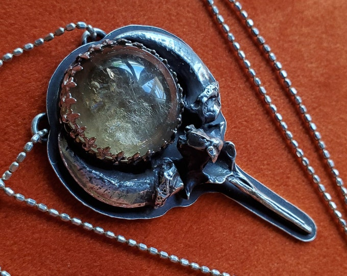 Smokey Quartz Crystal Ball | Casted Coyote Claws & Vertebra | Sterling Silver Necklace