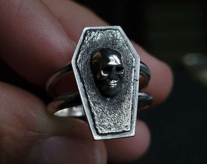 Coffin & Hallow Eyed Skull Sterling Silver Ring   Size 7.75