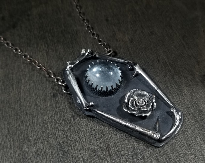 Icy Blue Topaz | Casted Bones | Rose | Casted Thorns | Sterling Silver Coffin Necklave