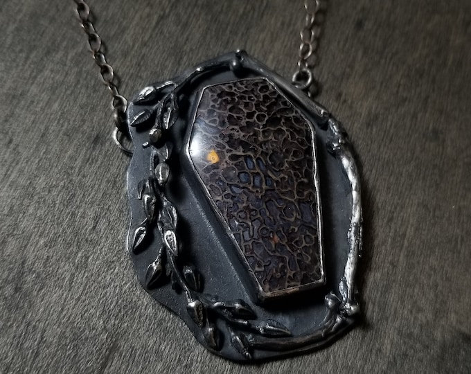Dinobone Coffin | Casted Bones & Sprigs | Sterling Silver Large Pendant