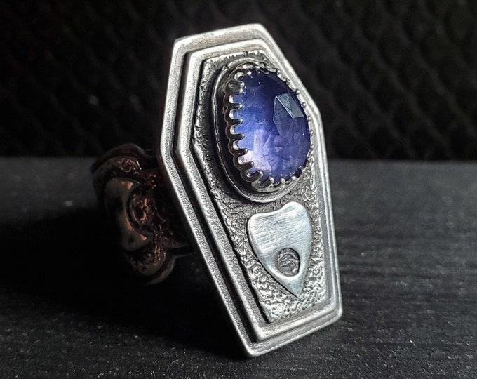 Iolite & Planchette Coffin Ring | Size 7.75