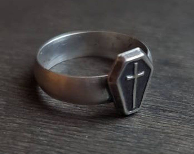 MADE TO ORDER - Coffin & Cross Sterling Silver Ring