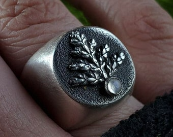 Fern & Rainbow Moonstone Signet Ring Prototype | Size 9.5 - 9.75 | Sterling Silver