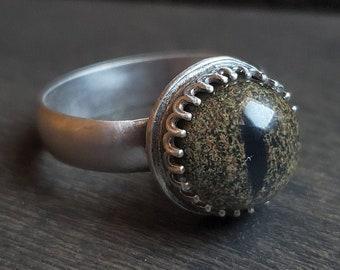 Snake Glass Eye Ring   Size 7.25   Sterling Silver