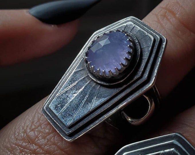 Tanzanite & Crescent Moons Coffin Ring   Size 6.5
