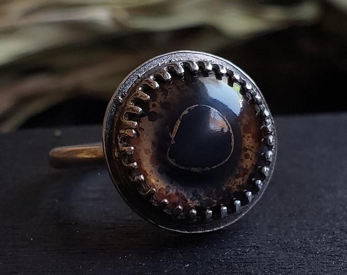 Bass Glass Eye Ring Size 6 | Sterling Silver