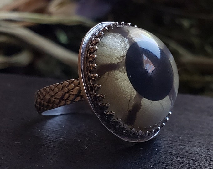 Reptile Glass Eye Ring Size 6 | Taxidermy | Sterling Silver