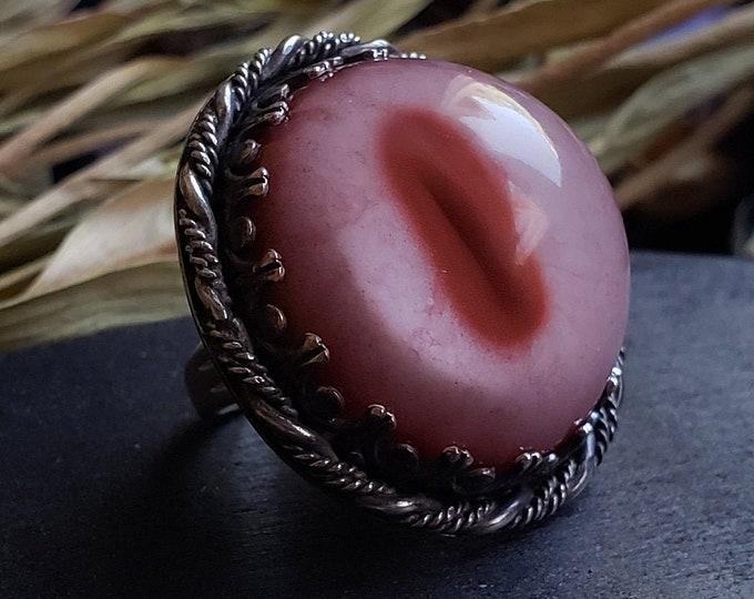 Albino Deer Glass Eye Ring Size 5.75 | Sterling Silver