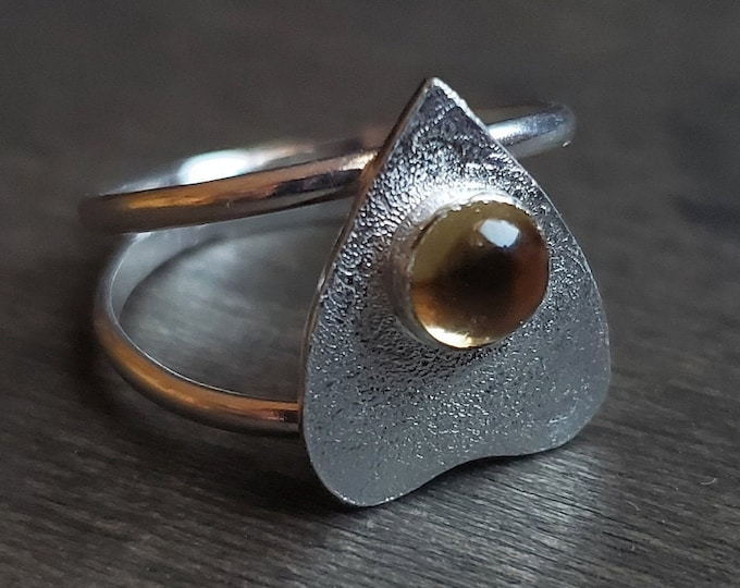 Citrine Planchette Ring | Size 6 | Sterling Silver